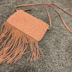 Small stamped fringe bag